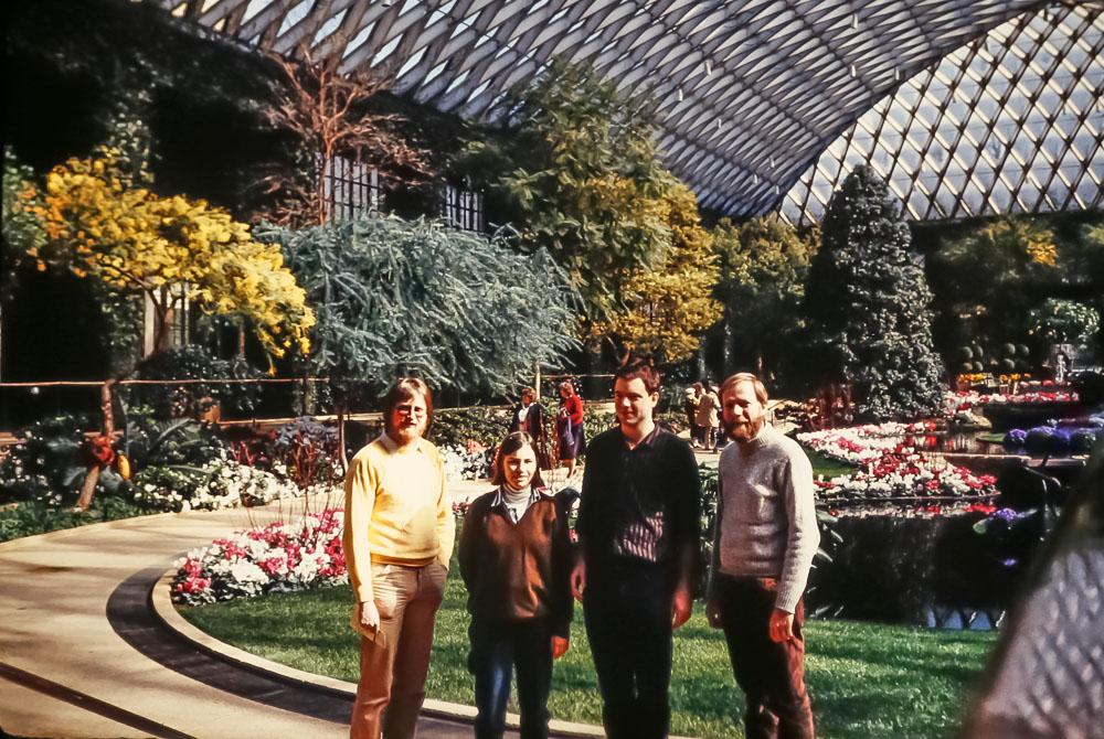 Longwood Gardens - Peter, Nick with girlfriend, David - March 1986