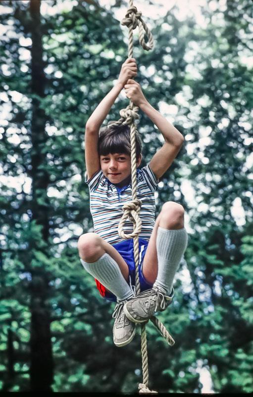 Andrew on rope ladder/swing  - June 1986