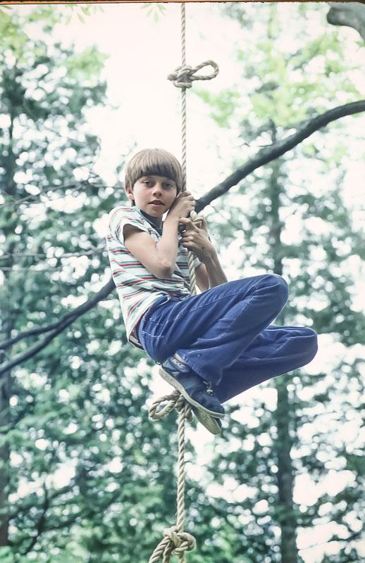 Steven on rope ladder/swing - June 1986