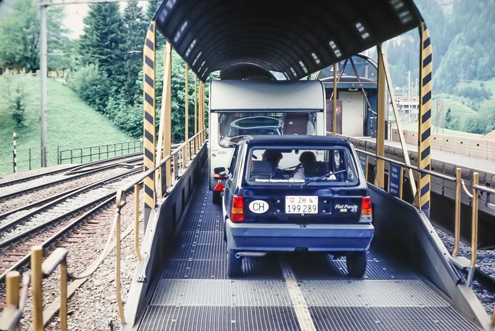 Car train from Kaudersteg to Brig, June 1986