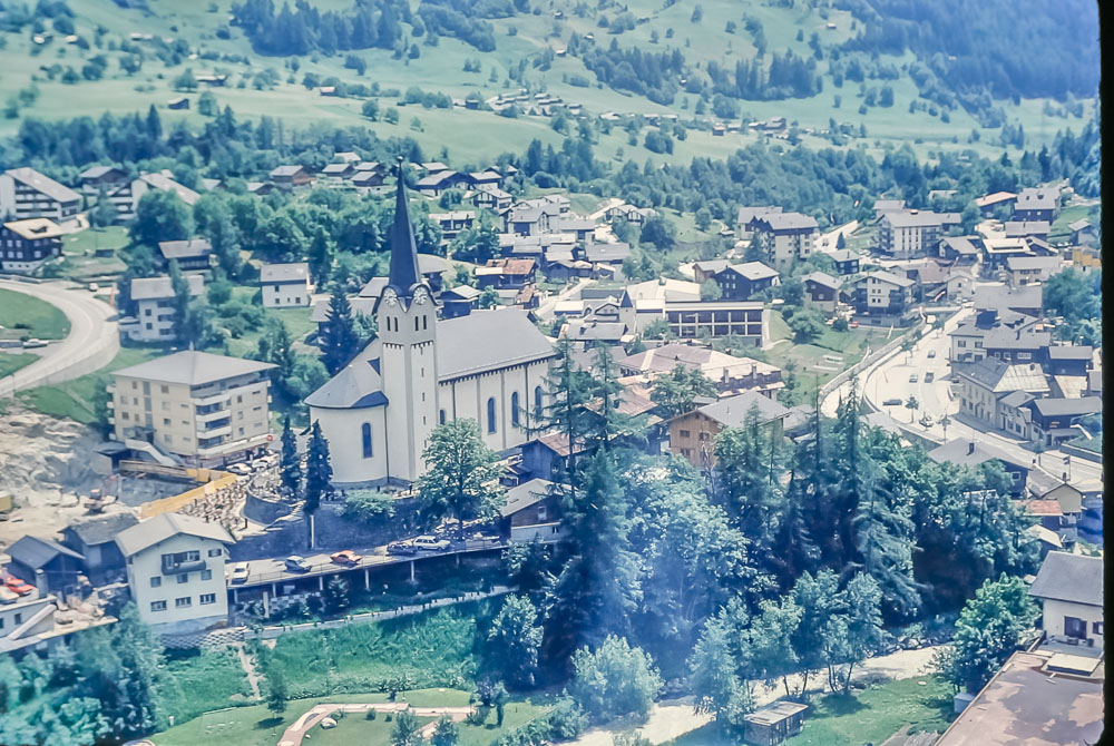 Fiesch Eggishorn from cable car, June 1986