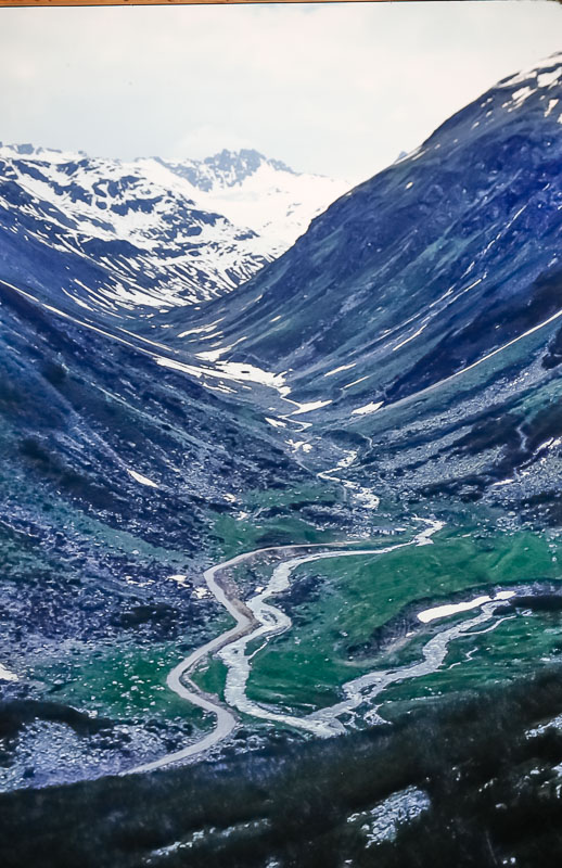 Heading up to Oberalp Pass, June 1986