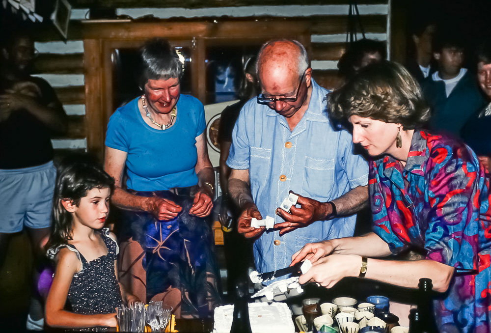 Seeving the cake, June 1986
