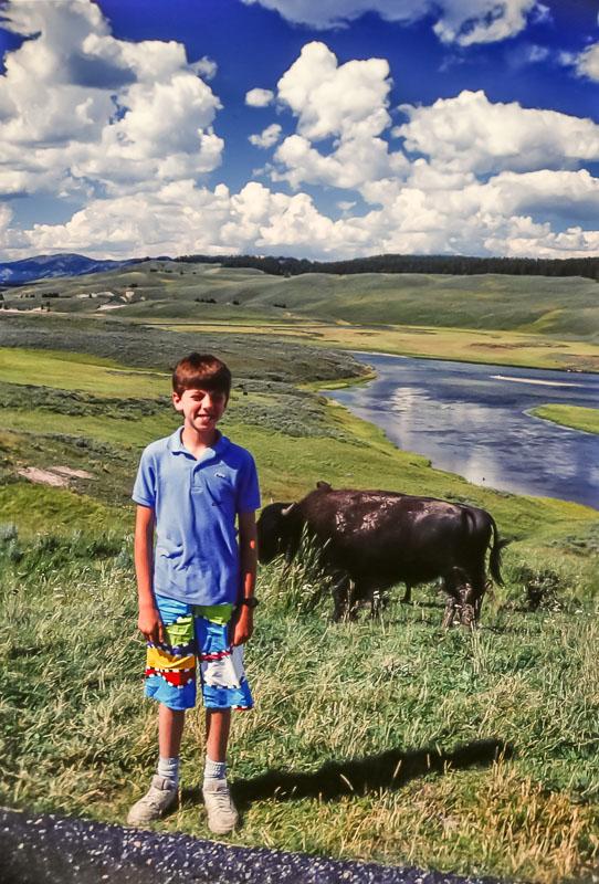 Steven with buffalo, 1987