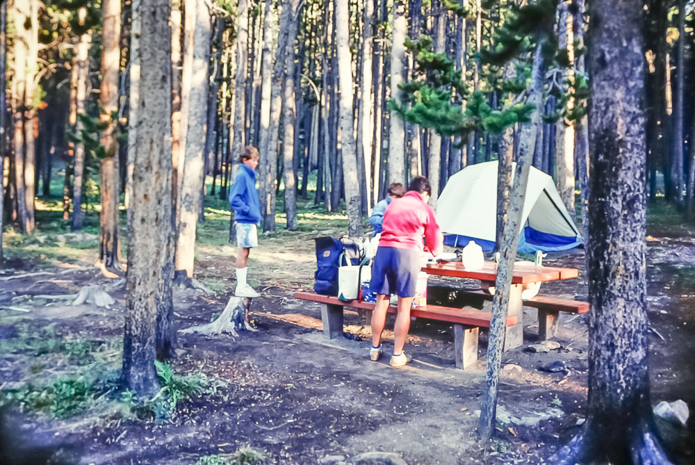 National forest campsite outside Yellowstone, 1987