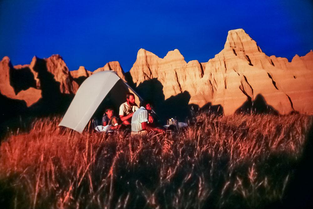 sunset at Badlands campsite, 1987