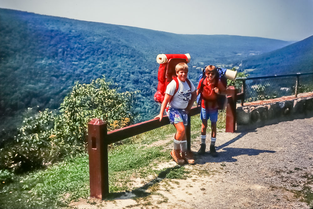 Hiking with Darren at the Jumpoff, 1987
