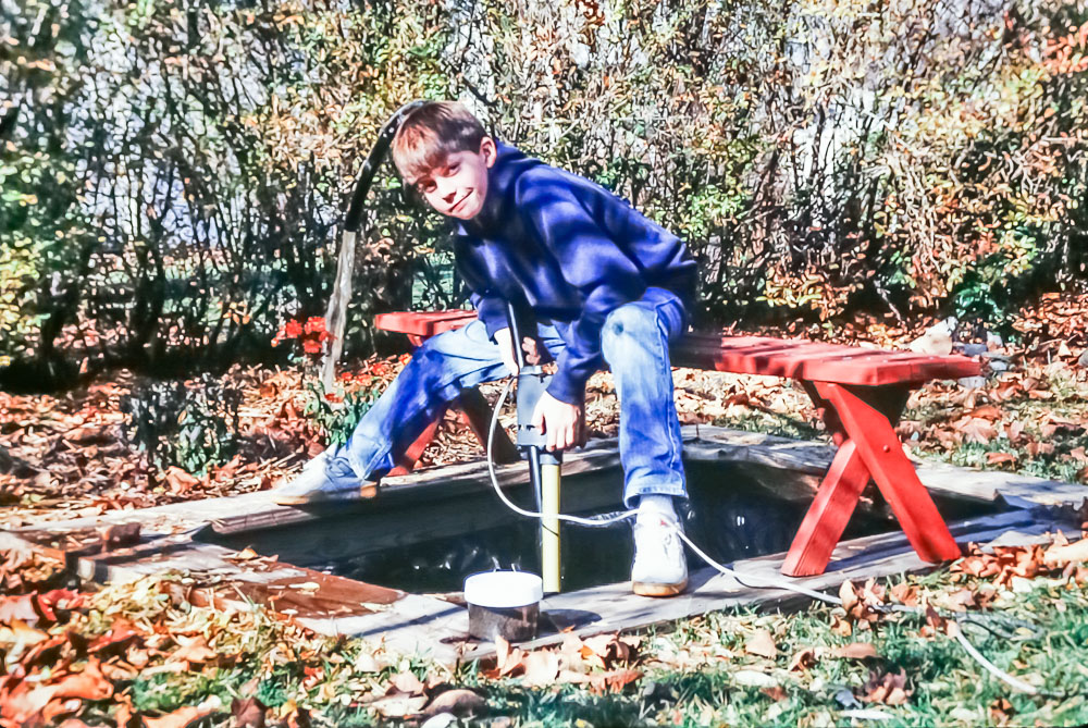 emptying the pond for winter, 1987