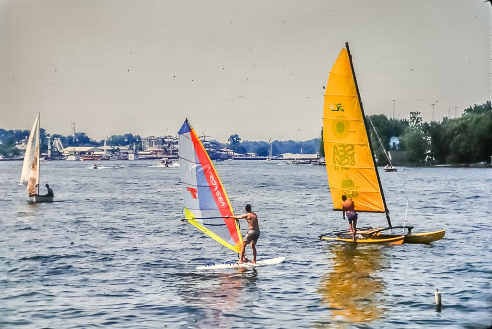 1989 David windsurfing on Lake Freeman