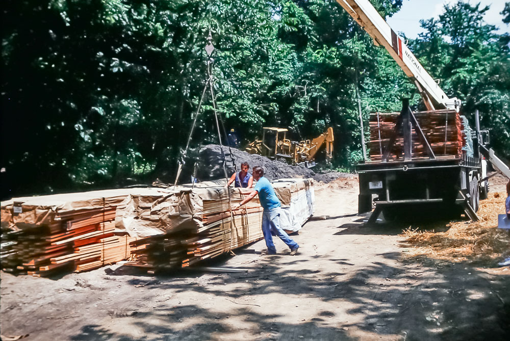 1989 unloading Timberpeg bundles
