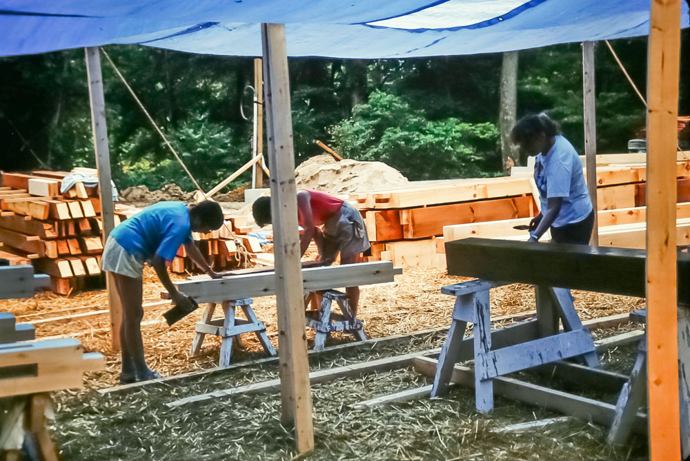 1989 Staining the beams and boards