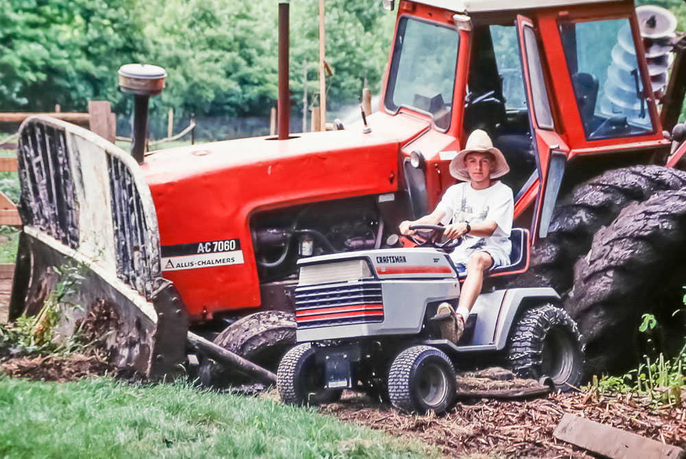 1991 Farmer Steven with Marion's tractor