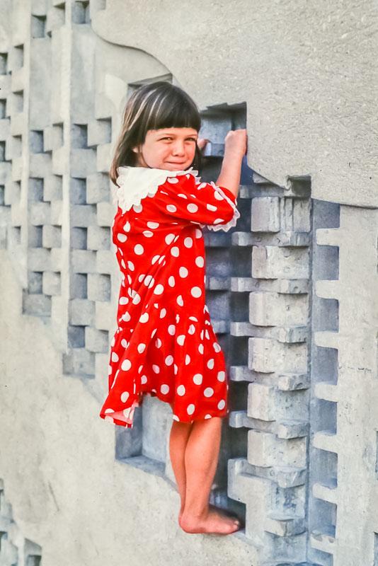 1995 Amanda explores Purdue fountain