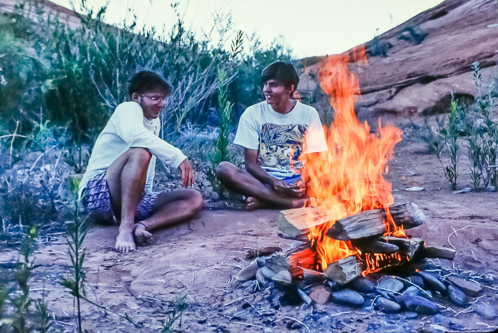 1995 Burke Minsley and Andrew at Lake Powell
