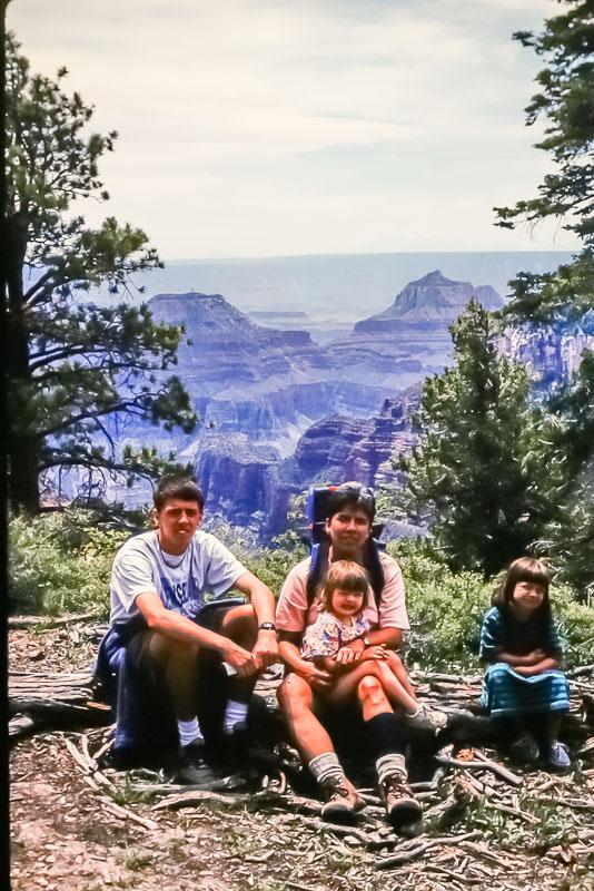 1995 Steven, Amanda, Emily, and Janet at Grand Canyon North Rim