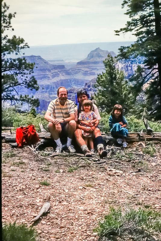 1995 David, Janet, Amanda, Emily at North Rim of Grand Canyon
