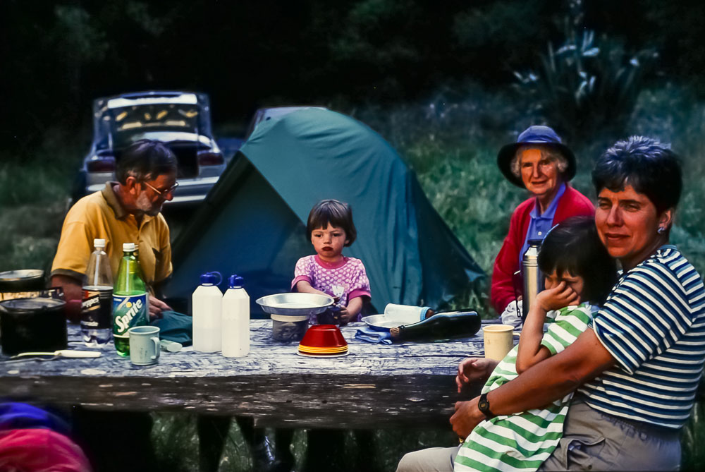 1996 Dinner with Harry and Kath Naylor at campsite