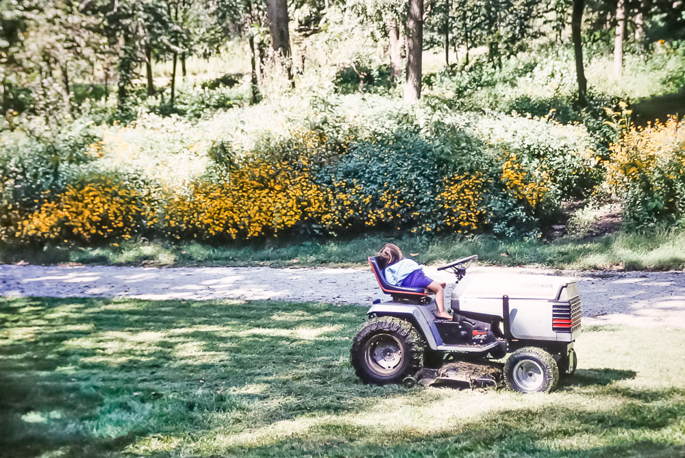1993 Amanda is too tired to finish mowing