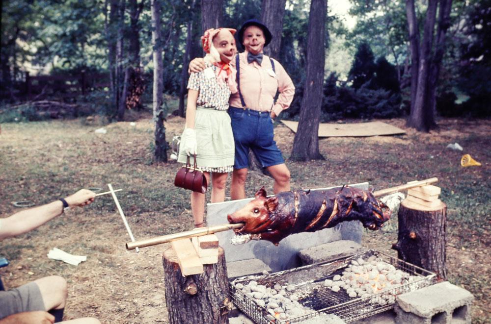 1977 Judy and Jim Abel at pig roast