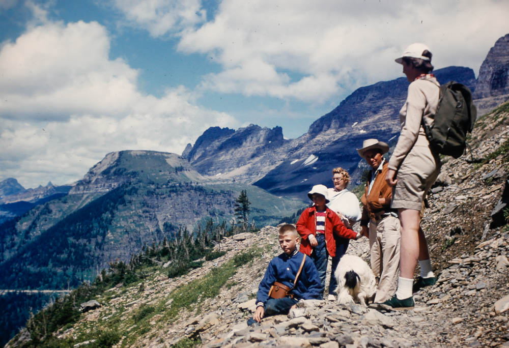 1956 Hiking with friends at Glacier NP