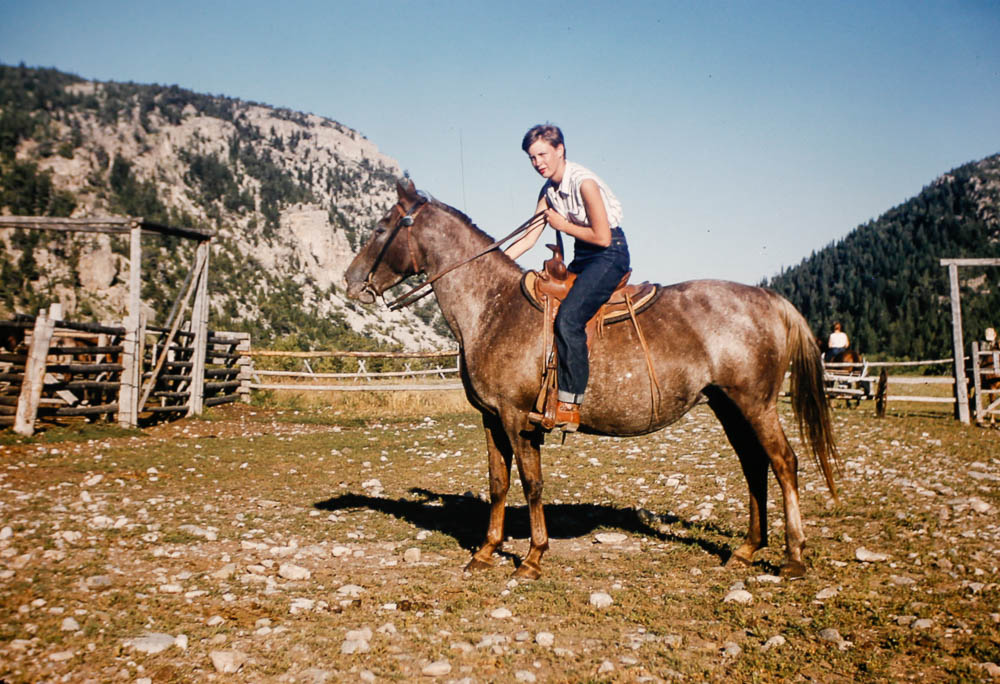 1956 Mary on horseback at Glacier NP