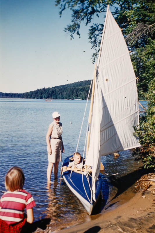 1954 Margie teaching Barbara to sail on Otter Pond