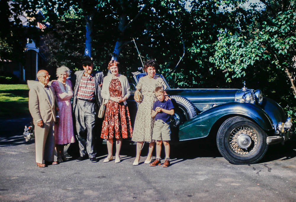 "1960?. H. M. (""Dad"") and Ruth Dadourian, Thornton, Barbara, Lou, Leigh. with Thornton's Bentley"