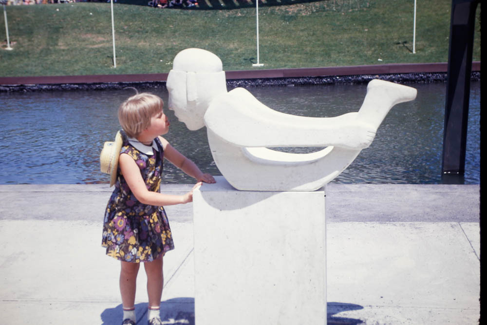 1967 Page greets a statue at Expo Montreal