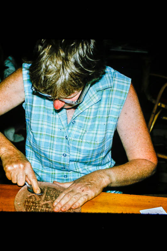 1972 Barbara polishing clay at Island