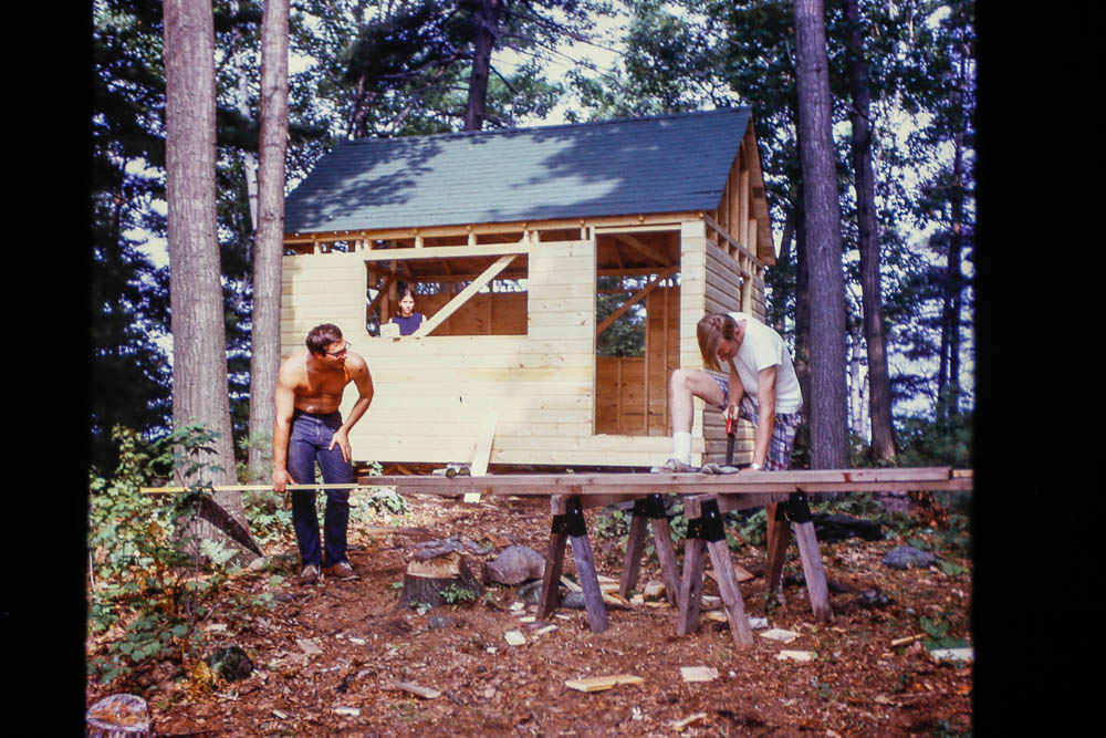 1972 David and Chuck working on little cabin