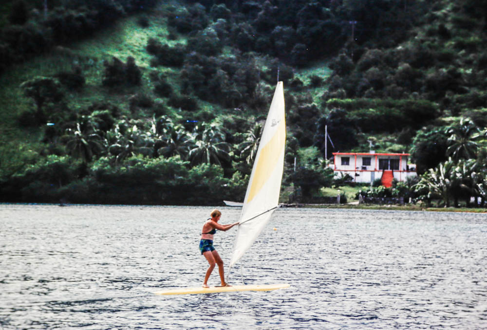 1978 Margie demonstrating wind surfer